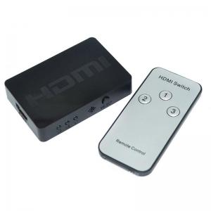 3 HDMI į vieną HDMI paskirstytojas (1080P, distacinis valdymas)