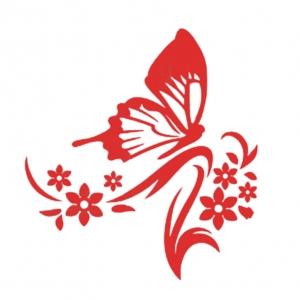 """Veidrodinis lipdukas """"Raudonasis drugelis"""" (53 x 50 cm)"""