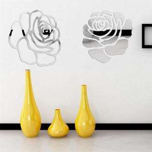 """Veidrodinis lipdukas """"2 sidabrinės rožės"""" (28 x 28 cm)"""